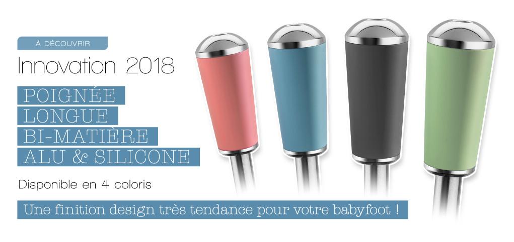 Nouvelle poignée longue Bonzini bi-matière, en alu et silicone, pour votre babyfoot B90 et B60