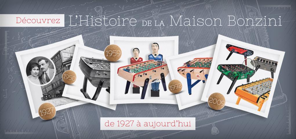Découvrez toute l'histoire de la Maison Bonzini, fabricant français de babyfoots, de 1927 à aujourd'hui !
